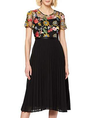 Yumi Floral Embroidery Pleated Dress