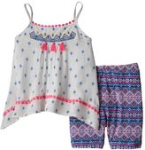 Little Lass Baby Girl Embroidered Gauze Tank Top & Tribal Bike Shorts Set