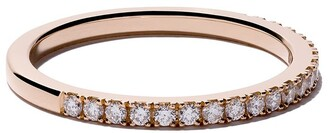 De Beers 18kt rose gold DB Classic half pave diamond band