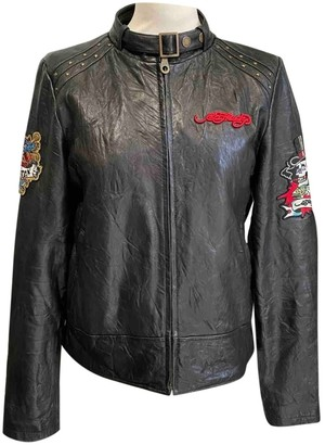 Avirex Black Leather Jacket for Women Vintage