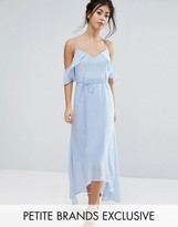 True Decadence Petite Frill Cold Shoulder Cami Maxi Dress With Ruffle Hem Detail