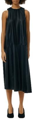 Tibi Tissue Sleeveless Faux Leather Shift Dress