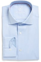 Bugatchi Men's Trim Fit Houndstooth Dress Shirt