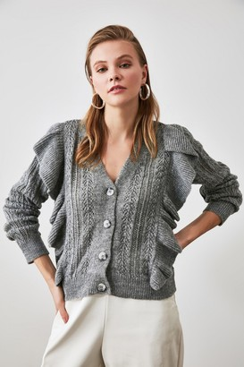 Trendyol Grey Ruffle Detail Knit Cardigan
