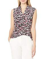 Nine West Women's Plus Size Sleeveless Inverted V-Neck Printed Knit TOP
