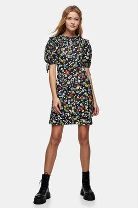 Topshop Black Floral Print Tie Sleeve Mini Dress