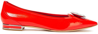Casadei Crystal-embellished Patent-leather Point-toe Flats