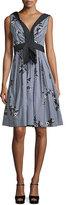 Marc Jacobs Floral Gingham V-Neck Dress, Black/Multi
