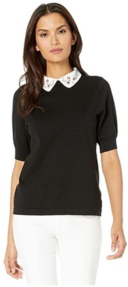 CeCe Short Sleeve Pullover Sweater with Embellished Collar (Rich Black) Women's Clothing