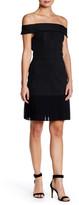 ABS by Allen Schwartz Pleated Hem Off-The-Shoulder Pinstripe Dress
