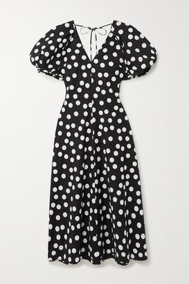 Lee Mathews Cherry Spot Polka-dot Cotton Maxi Dress - Black