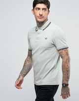 Fred Perry Slim Pique Polo Shirt Twin Tipped in Mint Green