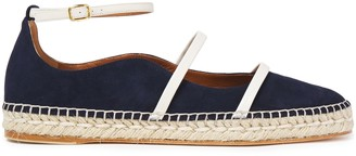 Malone Souliers Selina Leather-trimmed Suede Espadrille Ballet Flats