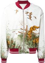 Maison Margiela fox print bomber jacket - men - Silk/Cotton/Viscose - 46