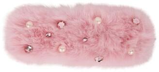 Bari Lynn Faux Fur Pearl Embellished Hairclip