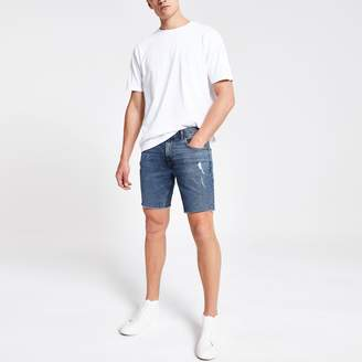 River Island Mens Mid Blue Dylan slim stretch denim shorts