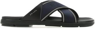 Prada Logo Crossover Sandals