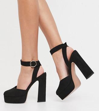 ASOS DESIGN Wide Fit Pecan platform high heels in black