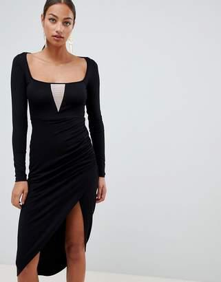 Asos Design DESIGN square neck v plunge bodycon midi dress-Black