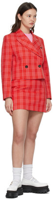 MSGM Red & Pink Cropped Plaid Blazer
