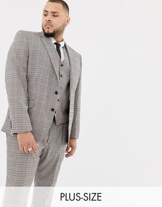 Gianni Feraud Plus slim fit heritage check wool blend suit jacket-Brown