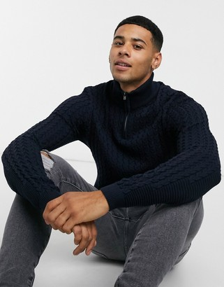 ASOS DESIGN muscle fit cable half zip jumper in navy