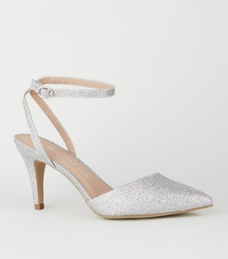 New Look Wide Fit Glitter Pointed Court Shoes