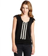 RED Valentino black and white ruffle trim front scoop neck top
