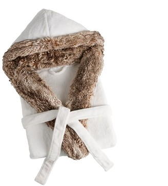 Pottery Barn Faux Fur Hooded Bath Robe - Ivory/Caramel Ombre