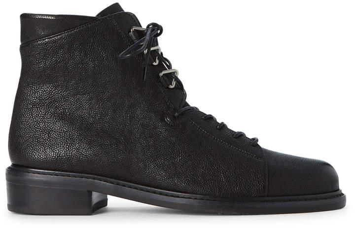 Stuart Weitzman Black Trekker Leather Lace-Up Boots