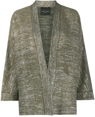 Roberto Collina Glitter Threaded Cropped Sleeve Cardigan