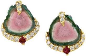 Artisan 18Kt Yellow Gold Genuine Diamond Melon Tourmaline Women Stud Earring Jewelry