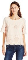 Vero Moda Women's Piro Short Sleeve Shirt with All Over Lace Detail
