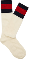 Gucci Striped-cuff eyelet-knit socks
