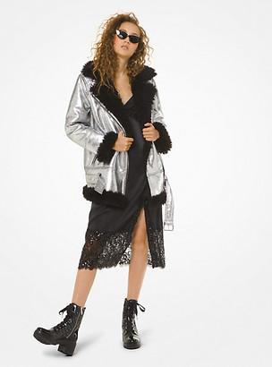 Michael Kors Faux Shearling-Trim Metallic Moto Jacket
