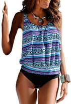 Blugibedramsh Womens Printed Tankini Swimwear Two Piece Swimsuit Set Bathing Suit ( M )