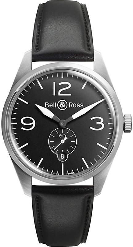 Bell & Ross BRV294BTSTSCA automatic stainless steel and leather strap watch