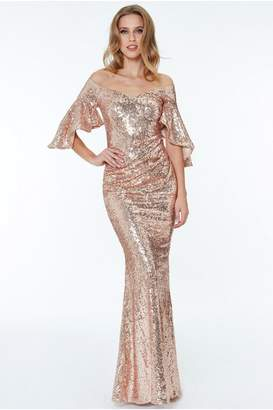 Goddiva Off The Shoulder Sequined Maxi Dress - Champagne