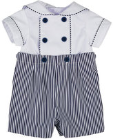 Florence Eiseman Ottoman Double-Breasted Sailor Shortall Set, Navy Blue/White, Size 3-24 Months