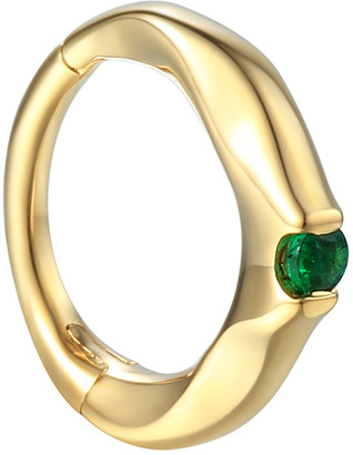Pamela Love Emerald Clicker Hoop Single Earring - Yellow Gold