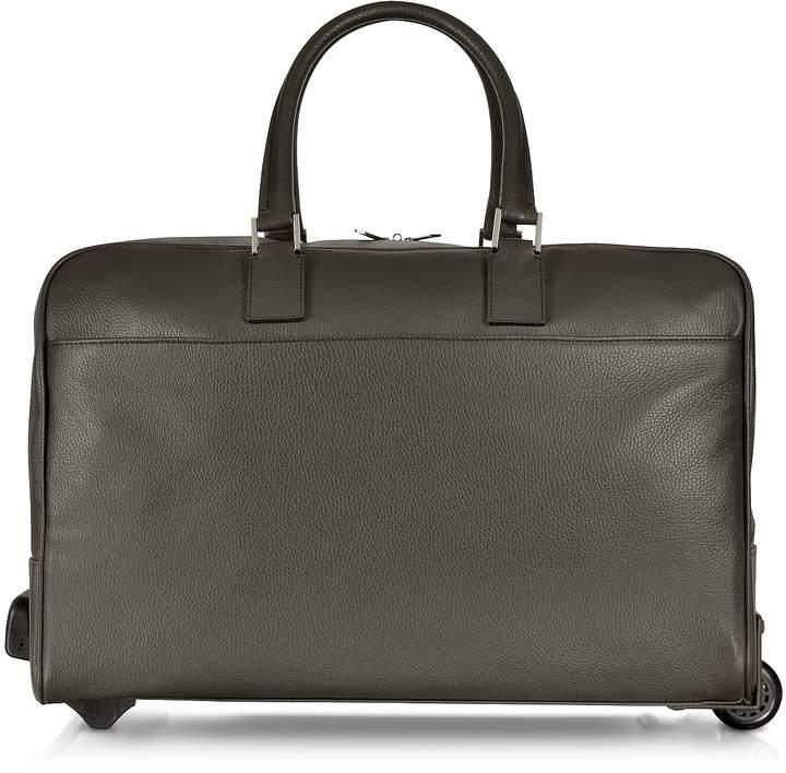 Giorgio Fedon Dark Brown Travel Leather Rolling Duffle