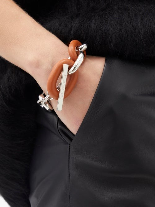 Thumbnail for your product : Paco Rabanne Xl Link Metal And Leather Bracelet - Orange
