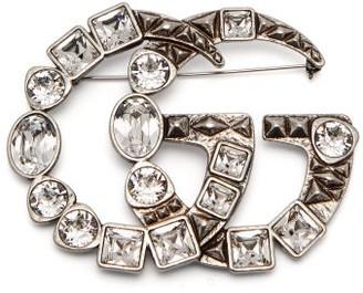 Gucci GG-logo Brooch - Womens - Crystal