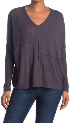 H By Bordeaux Mixed Ribbed Long Dolman Sleeve Pullover