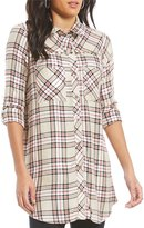 Intro Long Roll-Tab Sleeve Stud Embellished Plaid Button Front Shirt