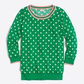 J.Crew Factory Tipped polka-dot three-quarter-sleeve sweater