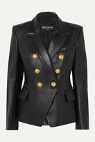 Thumbnail for your product : Balmain Double-breasted Leather Blazer - Black