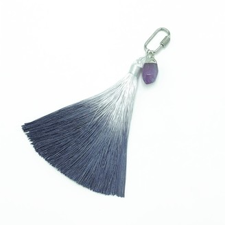 Stranger Than Them Healing Crystal - Soothe - Amethyst Silver Pave Crystal Ombre Tassel Key Chain / Bag Clip