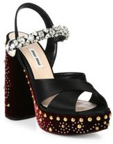 Miu Miu Embellished Leather & Velvet Platform Sandals