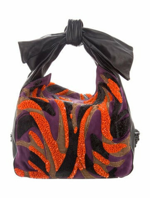 Versace Leather Bead-Embellished Handle Bag Purple